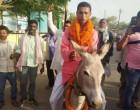 வேட்பு மனுத் தாக்கலுக்காக கழுதை மீது பயணித்த அரசியல்வாதிக்கு எதிராக வழக்கு