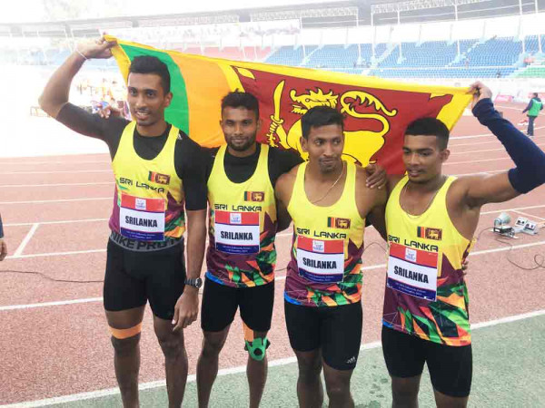 4-x-100-meters-men-new-meet-record-39  5 ஆவது நாளில் இலங்கைக்கு 7 தங்கப் பதக்கங்கள 4 x 100 meters men new meet record 39 e1575737699190